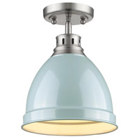 Duncan 1 Light 9 inch Pewter Flush Mount Ceiling Light in Seafoam