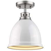 Golden Lighting Duncan 1 Light Flush Mount in Pewter 3602-FM-PW-WH