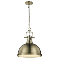 Golden Lighting 3602-L-AB-AB Duncan 1 Light 14 inch Aged Brass Pendant Ceiling Light