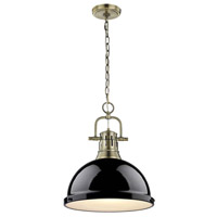 Golden Lighting 3602-L-AB-BK Duncan 1 Light 14 inch Aged Brass Pendant Ceiling Light in Black