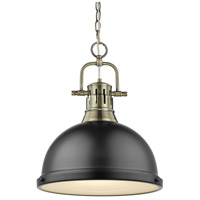 Golden Lighting Duncan 1 Light Pendant in Aged Brass 3602-L-AB-BK