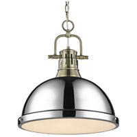Golden Lighting 3602-L AB-CH Duncan 1 Light 14 inch Aged Brass Pendant Ceiling Light in Chrome