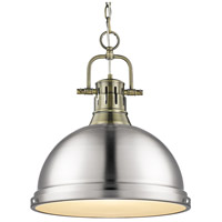 Golden Lighting 3602-L AB-PW Duncan 1 Light 14 inch Aged Brass Pendant Ceiling Light in Pewter