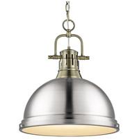 Golden Lighting 3602-L AB-PW Duncan 1 Light 14 inch Aged Brass Pendant Ceiling Light in Pewter