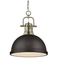 Golden Lighting 3602-L-AB-RBZ Duncan 1 Light 14 inch Aged Brass Pendant Ceiling Light in Rubbed Bronze