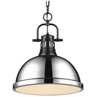Golden Lighting 3602-L-BLK-CH Duncan 1 Light 14 inch Matte Black Pendant Ceiling Light in Chrome