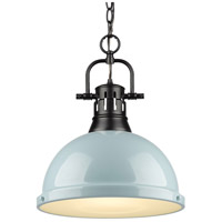 Golden Lighting 3602-L BLK-SF Duncan 1 Light 14 inch Matte Black Pendant Ceiling Light in Seafoam