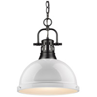 Golden Lighting 3602-L-BLK-WH Duncan 1 Light 14 inch Matte Black Pendant Ceiling Light in White