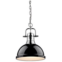 Golden Lighting 3602-L-CH-BK Duncan 1 Light 14 inch Chrome Pendant Ceiling Light in Black