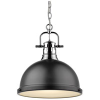 Golden Lighting Duncan 1 Light Pendant in Chrome 3602-L-CH-BK