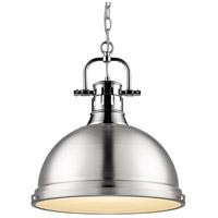 Golden Lighting 3602-L CH-PW Duncan 1 Light 14 inch Chrome Pendant Ceiling Light in Pewter