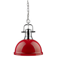 Golden Lighting 3602-L-CH-RD Duncan 1 Light 14 inch Chrome Pendant Ceiling Light in Red