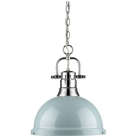 Duncan 1 Light 14 inch Chrome Pendant Ceiling Light in Seafoam