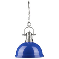 Duncan 1 Light 14 inch Pewter Pendant Ceiling Light in Blue