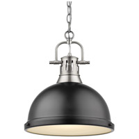 Golden Lighting Duncan 1 Light Pendant in Pewter 3602-L-PW-BK