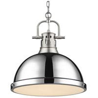 Golden Lighting 3602-L PW-CH Duncan 1 Light 14 inch Pewter Pendant Ceiling Light in Chrome