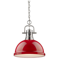 Golden Lighting 3602-L-PW-RD Duncan 1 Light 14 inch Pewter Pendant Ceiling Light in Red