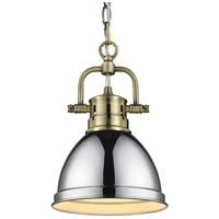 Golden Lighting 3602-M1L-AB-CH Duncan 1 Light 7 inch Aged Brass Mini Pendant Ceiling Light in Chrome