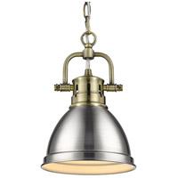 Golden Lighting 3602-M1L-AB-PW Duncan AB 1 Light 7 inch Aged Brass Mini Pendant Ceiling Light