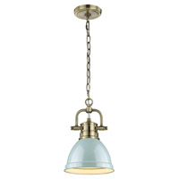 Golden Lighting 3602-M1L-AB-SF Duncan 1 Light 7 inch Aged Brass Mini Pendant Ceiling Light in Seafoam