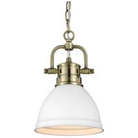 Golden Lighting 3602-M1L-AB-WHT Duncan 1 Light 7 inch Aged Brass Mini Pendant Ceiling Light in Matte White