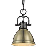 Golden Lighting 3602-M1L-BLK-AB Duncan BLK 1 Light 7 inch Matte Black Mini Pendant Ceiling Light in Aged Brass