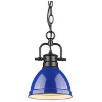 Golden Lighting 3602-M1L-BLK-BE Duncan 1 Light 7 inch Black Mini Pendant Ceiling Light