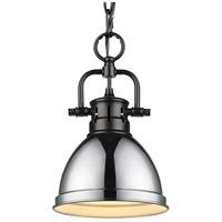 Golden Lighting 3602-M1L-BLK-CH Duncan BLK 1 Light 7 inch Matte Black Mini Pendant Ceiling Light
