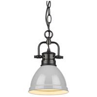 Golden Lighting 3602-M1L-BLK-GY Duncan BLK 1 Light 7 inch Matte Black Mini Pendant Ceiling Light in Grey Chain