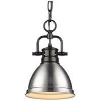 Golden Lighting 3602-M1L BLK-PW Duncan 1 Light 7 inch Matte Black Mini Pendant Ceiling Light in Pewter