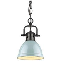 Golden Lighting 3602-M1L-BLK-SF Duncan BLK 1 Light 7 inch Matte Black Mini Pendant Ceiling Light in Seafoam Chain