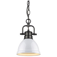 Golden Lighting 3602-M1L-BLK-WH Duncan BLK 1 Light 7 inch Matte Black Mini Pendant Ceiling Light in White Chain
