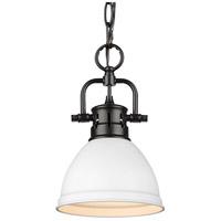 Golden Lighting 3602-M1L-BLK-WHT Duncan BLK 1 Light 7 inch Matte Black Mini Pendant Ceiling Light