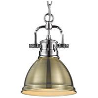 Golden Lighting 3602-M1L-CH-AB Duncan CH 1 Light 7 inch Chrome Mini Pendant Ceiling Light