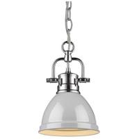 Golden Lighting 3602-M1L-CH-GY Duncan CH 1 Light 7 inch Chrome Mini Pendant Ceiling Light in Grey Chain