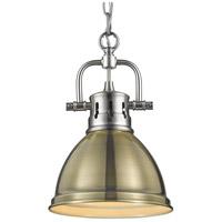 Golden Lighting 3602-M1L-PW-AB Duncan PW 1 Light 7 inch Pewter Mini Pendant Ceiling Light