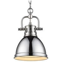 Golden Lighting 3602-M1L PW-CH Duncan 1 Light 7 inch Pewter Mini Pendant Ceiling Light in Chrome