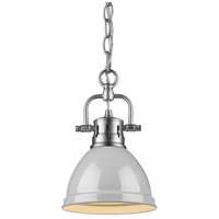 Golden Lighting 3602-M1L-PW-GY Duncan PW 1 Light 7 inch Pewter Mini Pendant Ceiling Light in Grey Chain