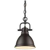 Duncan 1 Light 7 inch Rubbed Bronze Mini Pendant Ceiling Light in Blue