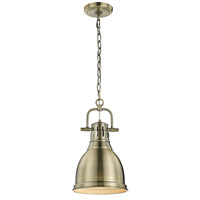 Golden Lighting 3602-S AB-AB Duncan 1 Light 9 inch Aged Brass Mini Pendant Ceiling Light