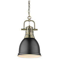 Golden Lighting Duncan 1 Light Mini Pendant in Aged Brass 3602-S-AB-BK