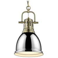 Golden Lighting 3602-S AB-CH Duncan 1 Light 9 inch Aged Brass Mini Pendant Ceiling Light in Chrome