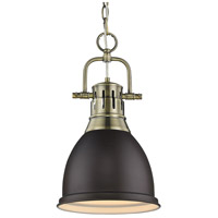 Golden Lighting Duncan 1 Light Mini Pendant in Aged Brass 3602-S-AB-RBZ