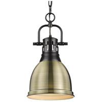 Golden Lighting 3602-S-BLK-AB Duncan BLK 1 Light 9 inch Matte Black Mini Pendant Ceiling Light