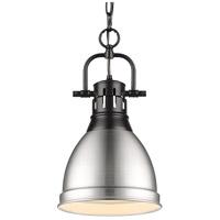 Golden Lighting 3602-S-BLK-PW Duncan BLK 1 Light 9 inch Matte Black Mini Pendant Ceiling Light
