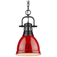 Golden Lighting 3602-S-BLK-RD Duncan BLK 1 Light 9 inch Matte Black Mini Pendant Ceiling Light in Red Chain