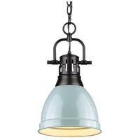 Golden Lighting 3602-S-BLK-SF Duncan BLK 1 Light 9 inch Matte Black Mini Pendant Ceiling Light in Seafoam Chain