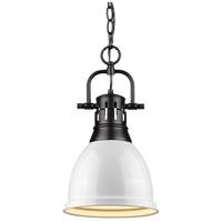 Golden Lighting 3602-S-BLK-WH Duncan BLK 1 Light 9 inch Matte Black Mini Pendant Ceiling Light in White Chain