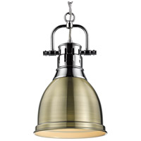 Golden Lighting 3602-S CH-AB Duncan 1 Light 9 inch Chrome Mini Pendant Ceiling Light in Aged Brass