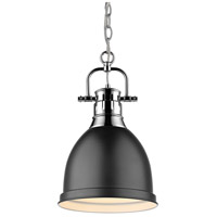 Golden Lighting Duncan 1 Light Mini Pendant in Chrome 3602-S-CH-BK
